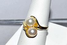 14kyg Pearl & Diamond Ring