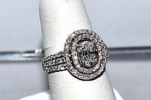 18kwg Oval Shaped Diamond Engagement Ring 1.17ct