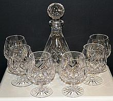 Waterford Crystal Decanter & 6 Brandy Snifter's