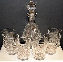 Waterford Crystal Decanter & 6 old fashion glasses