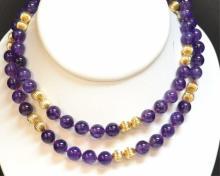 14kyg & Amethyst Bead Necklace