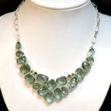 Sterling & Aquamarine Bib Necklace