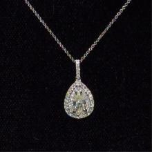 18kwg Pear Shaped Diamond Necklace