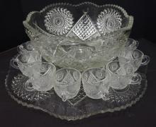 Vintage Pressed Glass Punch Bowl