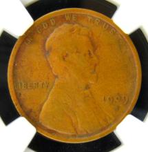 1909 S Lincoln Cent NGC VF 25 BN