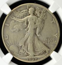 1938-D Liberty Walking Half Dollar NGC VF 25