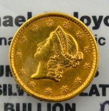 1852 $1.00 Liberty Gold VF Polish