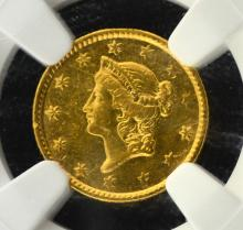 1853 $1.00 Gold NGC AU Details Mount Removed