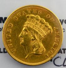 1855 $3.00 Princess Gold XF Polish