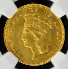 1878 $3 Indian Princess Head Gold Piece NGC MS 60