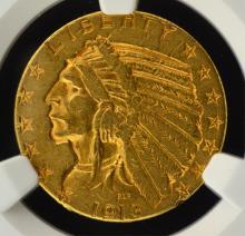 1913 $5.00 Gold Indian NGC AU Details Rim