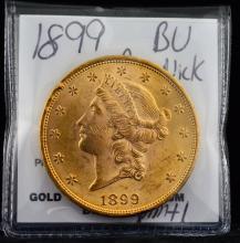 1899 $20.00 Gold Liberty BU Rim Nick
