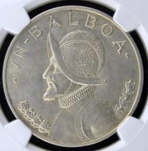 1947 Panama Silver Balboa NGC MS 62 KM #13
