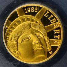 1986-W $5 Gold Statue of Liberty PCGS PR 69 DCAM