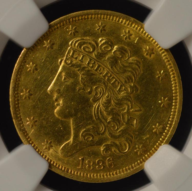 1836 5 classic head gold half eagle ngc au det by for Gulf coast coin and jewelry
