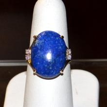 14kyg Lapis & Diamond Ring