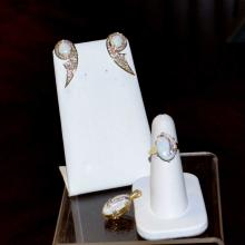 14kyg Opal / Diamond Ring, Earrings And Pendant