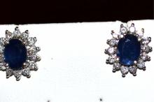 14kwg Blue Sapphire & Diamond Earrings