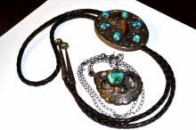 Silver Turquoise Lariat & Pendant