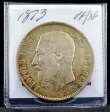 1873 Belgium 5 Francs Leopold II VF-XF KM 24