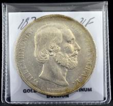 1874 Netherlands 2 1/2 Gulden VF