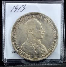 1913 Prussia Germany 5 Marks VF