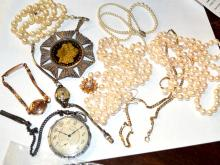 Lot Of Pearl Necklaces, Watches & Morgan Pendant