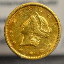 1849 Open Wreath $1 Liberty Head Gold Dollar VF