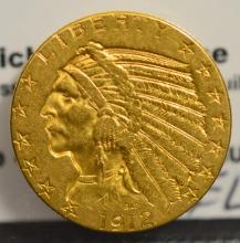 1912 $5 Indian Head Gold Half Eagle VF Cleaned