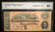 1864 $5 T-69 CSA Richmond, VA CGA EF 40