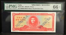 1983-89 Cuba 3 Pesos Specimen PMG GU 64 EPQ