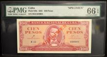1961 Cuba 100 Pesos Specimen PMG GU 66 EPQ