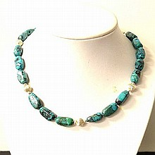 Natural Turquoise Necklace in Sterling