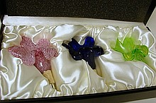 3 Glass Floral Bottle Stoppers