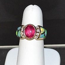 14kyg Pink Tourmaline & Opal Kabana Ring