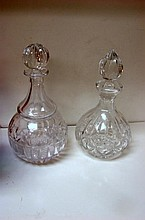 2 Block Crystal Decanters with stoppers