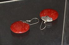Sterling Red Coral Circle Earrings