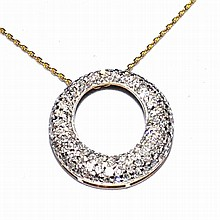 14kyg Diamond Circle Necklace 1ctw