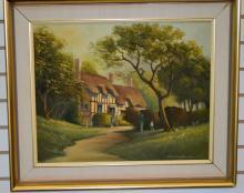 Oil on Canvas, Cottage Scene