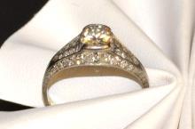 Vintage 18kwg Diamond Ring .90ct