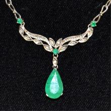 14kwg Emerald & Diamond Necklace
