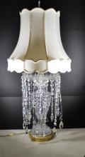 Vintage crystal lamp with crystal tear drops