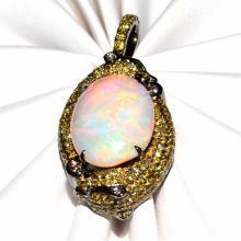18k Fancy Yellow Diamond Panther & Opal Pendant