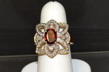 14kyg Garnet & Diamond Ring