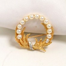 14kyg Pearl & Diamond Wreath Pin