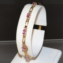 14kyg Pink Sapphire & Diamond Bracelet