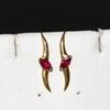 14kyg Ruby Ear Hooks