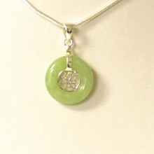 Jade Circle Pendant With Sterling Chain