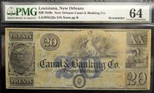 1840's $20 Canal Bank LA New Orleans PMG CU 64