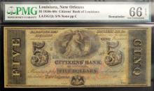 1850-60 $5 Citizens Bank LA N Orleans PMG GU66 EPQ